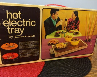 HOT Electric Plate/Tray Mid Century Modern 1970's Avocado Green With Box and Instructions NOS Vintage Retro Kitchen Entertaining Style