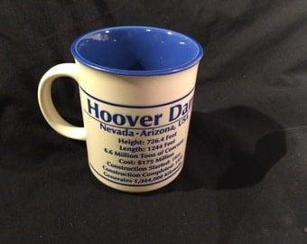 Hoover Dam Coffee Mug Tea Cup Heavy Pottery with Embossed Writing Blue Lining  Nevada Souvenir Dam Statistics Vintage Souvenir