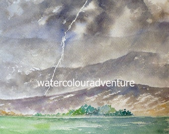 Not everything is gray. Original watercolor, unique watercolor, watercolor landscape, watercolor storm, watercolor lightning, rain, clouds