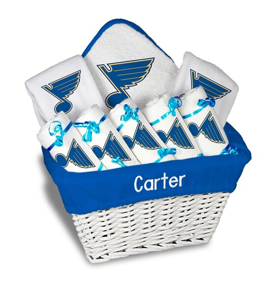 Personalized St Louis Blues Baby Gift Basket 2 Bibs 5 Burp