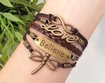 Dragonfly Bracelet, Believe Jewelry, Antique Bronze Bracelet, Love Jewelry, Brown Wax Cord Bracelet, Infinity Charm, Word, Wrap