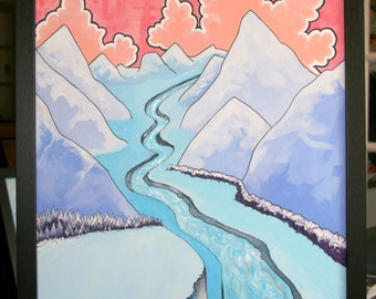 Mountain painting, Japanese inspired, mountain landscape painting, acrylic and marker on canvas, framed