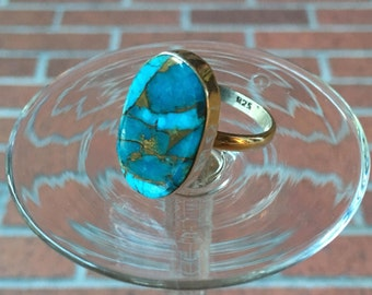 Authentic Polished Turquoise Sterling Silver Ring