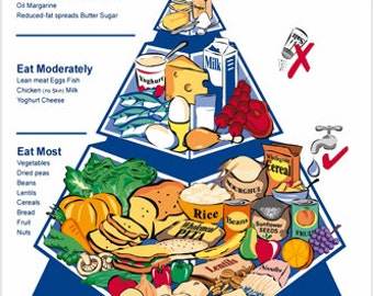 Healthy Living Food Pyramid Ad Poster 24x36 Nutrition Educational Detailed