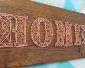 Home string art. Pink home decor