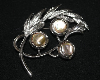 Vintage Silver Tone Leaf and Berry Brooch signed Exquisite