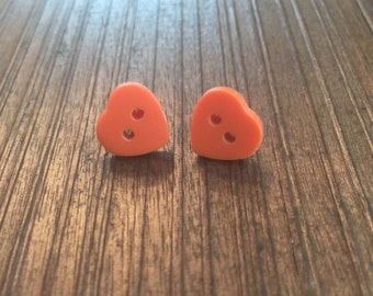 Wearing Your Heart on Your Sleeve Nickel Free Posts Button Earrings