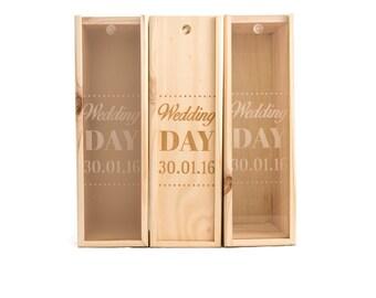 Wooden Wine Box (single) - Wedding day