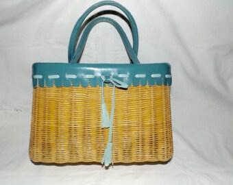 Basket weave straw handbag,structured handbag,leather trim,vintage straw bag,basket weave tote bag,double leather handles,basket planterSALE