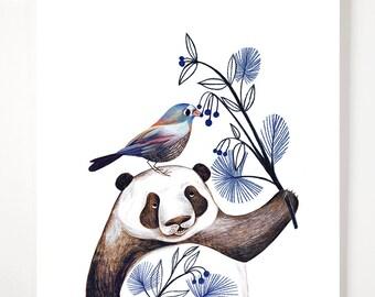 Panda and a friend- art print