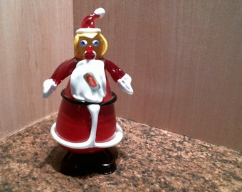 Vintage Murano glass clown, Mrs. Claus.