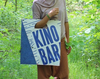 Eco friendly tote bag, blue recycled felt, reused promotional tarp, nature friendly