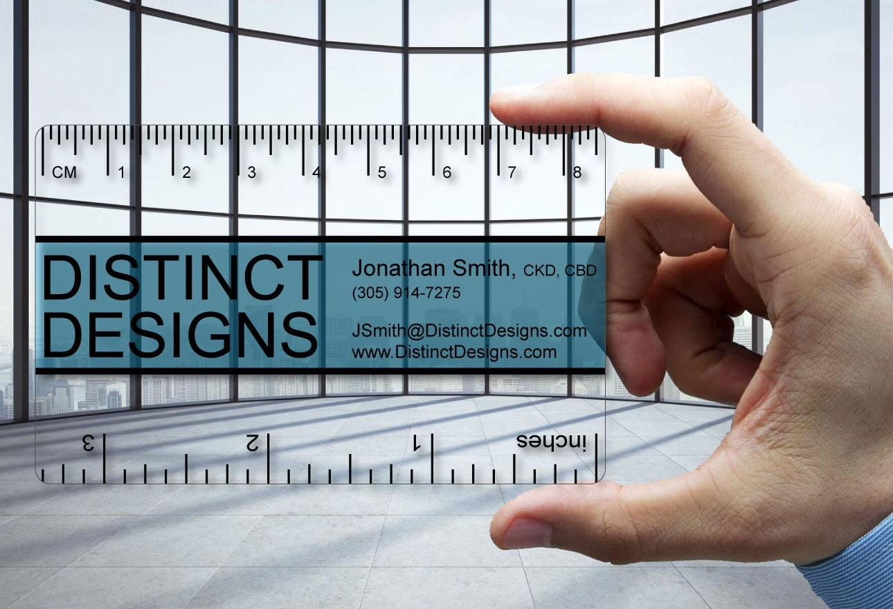 Clear Plastic Business Cards Ruler for Designer 30 mil thick