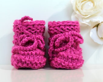 Pink Baby Booties, Baby Girl, Knitted Shoes, Newborn Gift