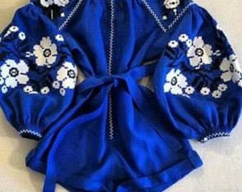 Blue White Embroidered Jumpsuit Linen Boho Ethnic Flower