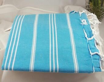 Towel Turkish Towel 100% Cotton Peshtemal Pestemal Cloth Bath Table Beach Pool - Blue Turquoise White Stripe Design