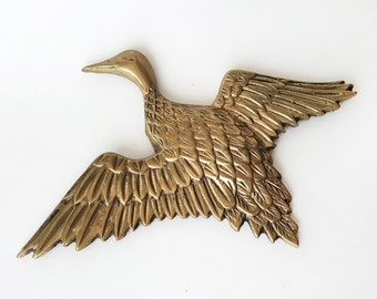 Vintage Brass Duck Wall Hanging