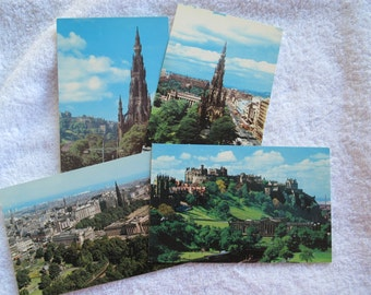 Vintage Edinburgh Postcards (set of 4) / Scott Monument postcard / Scottish postcards