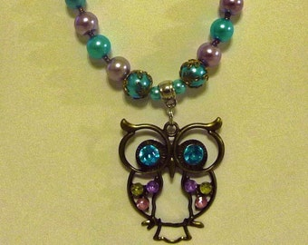 Owl Necklace Re-crafted from Vintage Beads and New Beads with Matching Earrings