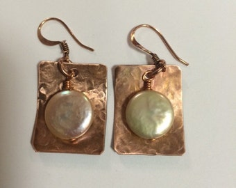 Copper Earring with Pearl