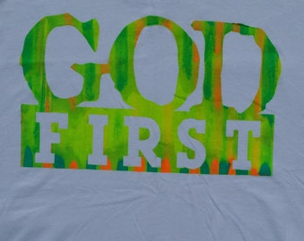 White T-Shirt GodFirst Color Blast One of a Kind (SinglePrint) #EternalLifePrinting #GodFirst #GodFirstCollection