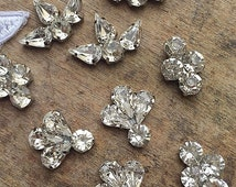 make your jewelry,wedding Accessories supplies 9 pc Rhinestone Embellishment Flatback buttons,