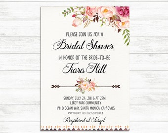 BRIDAL SHOWER Invitation, Printable Bridal Invite, Floral Bridal Shower Invitation, Rustic Boho Bridal Shower Invite, Bride to be Invite