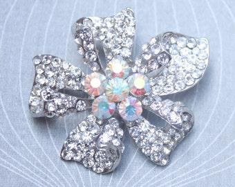 50s Flower Brooch, Vintage Brooch, Aurora Borealis Brooch, Statement Brooch,