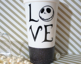 Jack skellington love mug, jack skellington tumbler, nightmare before christmas tumbler, nightmare before christmas mug, jack skellington