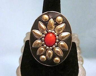 Large Vintage Ethnic/Boho/Tibetan Adjustable Ring Floral Motif with Red Cabochon Center