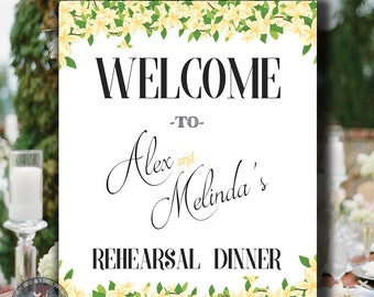 Rehearsal Dinner Wedding Sign Printable Personalized With Names - Yellow Floral Flowers - Digital Download - Flowers - 16x20 - 8x10 - 0001-Y