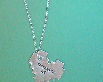 necklace- gamer necklace- custom necklace- pixel heart- geek necklace- personalized- gamer- geek
