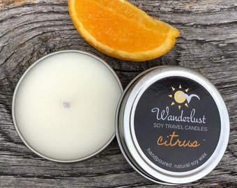 Citrus ~ Wanderlust ~ Soy Travel Candles ~ 2oz tin w/lid