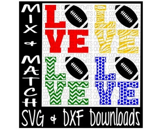 Love Football Mix & Match Cutting File - DXF SVG Files - Silhouette Cameo, Cricut