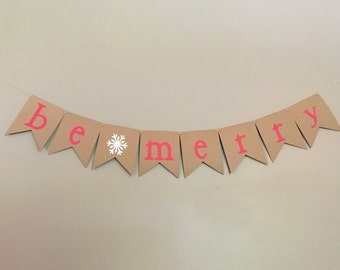 Be Merry Banner, Christmas Banner, Happy Holidays, Winter Banner, Red, Snowflake, Snow