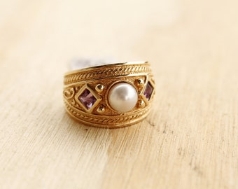 Vintage 14k Yellow Gold Pearl & Amethyst Ring