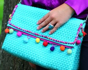 "Mexican ""Pixie"" teal clutch bag, handmade, woven, hand bag"