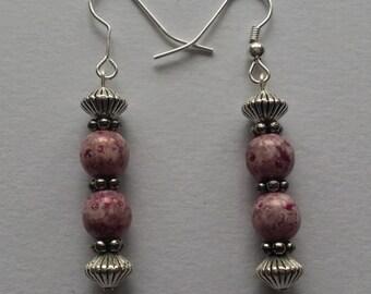 Hardmade reddish brown marblelized drop earrings