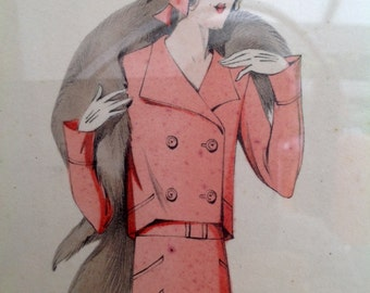 Original 1930s French fashion illustration in watercolour Art Deco flapper