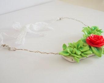 Statement Floral Chevron Necklace