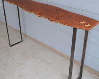 Live Edge Mesquite Slab Console Table