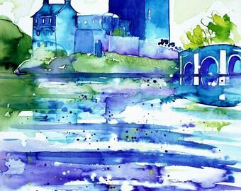 SCOTTISH ART ~ Eilean Donan Castle, Scotland, Limited Edition, Signed, Blue, Green, Fine Art Scottish Print, by Sasha Barnes