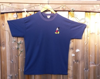 Vintage 90's Mickey Mouse Navy Blue Pinstriped T-Shirt