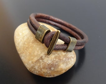 mens leather bracelet, fish hook leather bracelet, hook clasp leather bracelet wristband, fish hook bracelet, distressed brown leather
