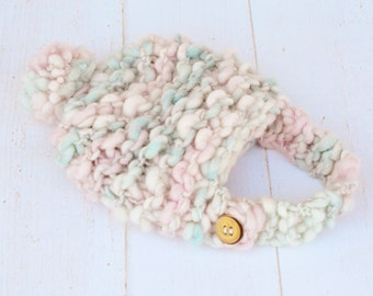 Chunky Rustic Hand Knit Baby Photo Prop Hat - Bonnet With Chinstrap - Light Pink, Blue and White
