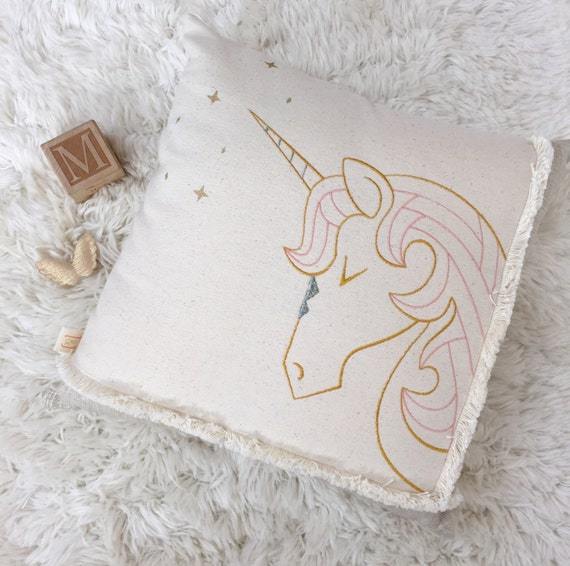Dreaming Unicorn Embroidered Pillow / Fairytale Nursery / Unicorn Decor / Little Girl's Room
