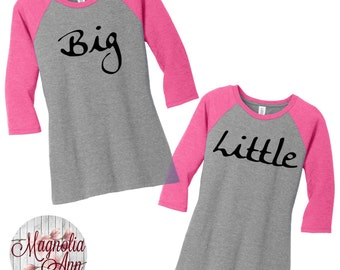 Big Little Sorority Raglan 2 Tone Baseball Womens Tees in Small-4X in 5 colors, Plus Size