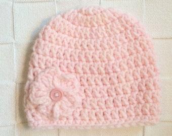 Baby Girl Flower Crochet Hat , Winter Hat, Crochet Flower Beanie, Photo Prop