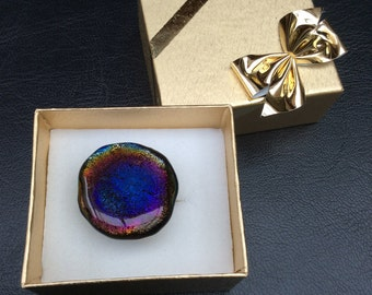Fused GLASS  RING - Adjustable - Large Ring - Round Ring - Dichroic Glass Black Rainbow
