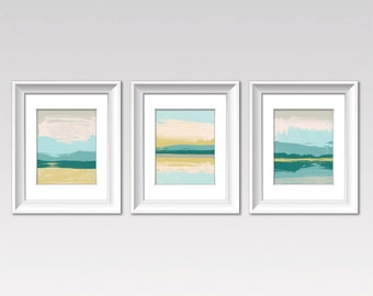 Mid Century Wall Art, Set of Three Prints, Modern Art, Contemporary Landscape Prints, Set of Three GREEN and GOLD LANDSCAPES #1, 2 , & 3